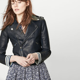 Maje Sailor-style bonded leather jacket