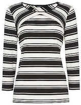Roman Originals Ladies 3/4 Sleeve Stripe Top Monochrome 10-20