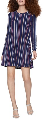 BCBGeneration Long Sleeve A-Line Striped Dress
