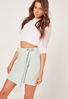 Missguided Eyelet Tie Side Wrap Skirt Green