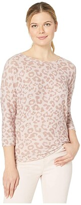 Tribal 3/4 Sleeve Top w/ Back Knot (Cameo Rose) Women's Clothing