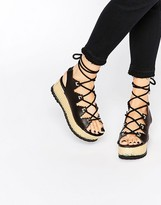 Kat Maconie Eva Black & Gold Lace Up Flatform Sandals