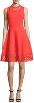 Milly Sleeveless Cutout Swing Dress, Red