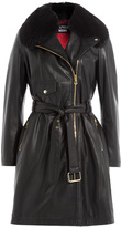 Moschino Belted Leather Coat with Fur Collar