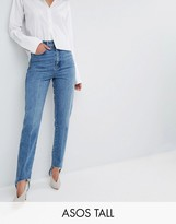 Asos Tall Authentic Rigid Mom Jeans In Mid Wash With Stirrup Hem