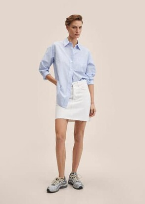 MANGO Denim miniskirt with frayed hem