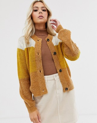Pieces long sleeve knit cardigan-Yellow