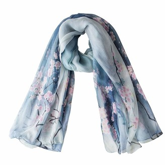 Radiancy Inc Womens100% Mulberry Silk Scarf Large All-Purpose Silk Shawl 87A59 Inches (Plum blossom blue)(Size: One Size)