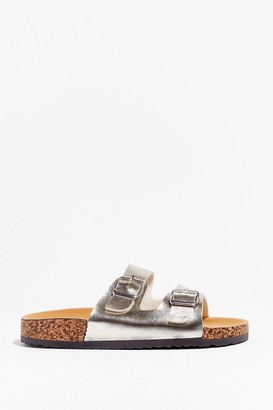 Nasty Gal Womens You're in Buckle Metallic Faux Leather Sandals - Gold