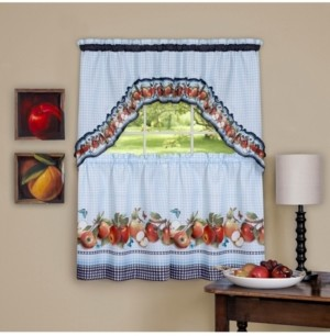 Achim Golden Delicious Printed Tier & Swag Window Curtain Set, 57x36