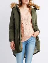 Charlotte Russe Faux Fur-Trim Longline Anorak Jacket