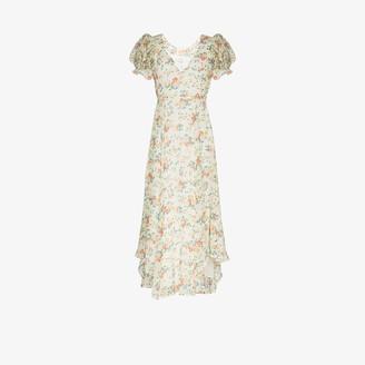 LoveShackFancy Clemence pouf sleeve floral silk maxi dress