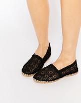 London Rebel Canary Black Crochet Espadrilles