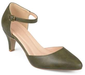 Brinley Co. Womens Faux Leather Comfort Sole D'orsay Ankle Strap Almond Toe Heels