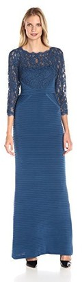 Adrianna Papell Women's Pintucked Jersey Gown with Lace Bodice