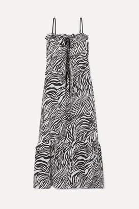 McQ Printed Silk-georgette Dress - Black