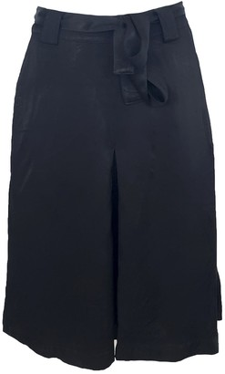 Haris Cotton Viscose Knee-Length Flared Skirt In Black