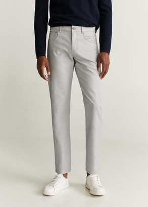 MANGO MAN - Slim-fit linen cotton pants light/pastel grey - 28 - Men