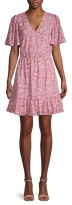 Rebecca Minkoff Sorcha Printed Flutter-Sleeve Dress