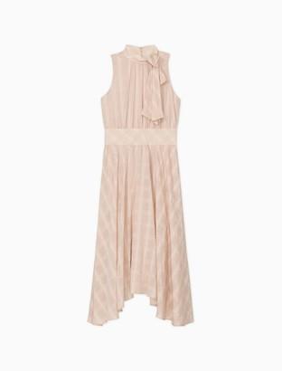 Calvin Klein Plaid Bow Neck Sleeveless Handkerchief Dress