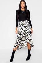boohoo Leopard Print Satin Wrap Midaxi Skirt