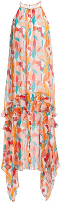 Rachel Zoe Ruffled Printed Chiffon Midi Dress