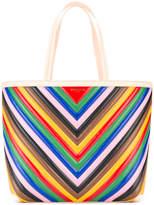 Sara Battaglia striped rainbow tote bag