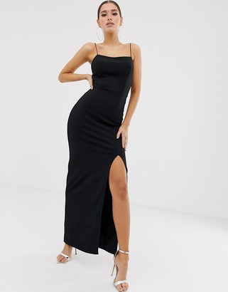 Club L London square neck midaxi dress in black