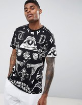 Criminal Damage T-Shirt In Black With Symbols Print