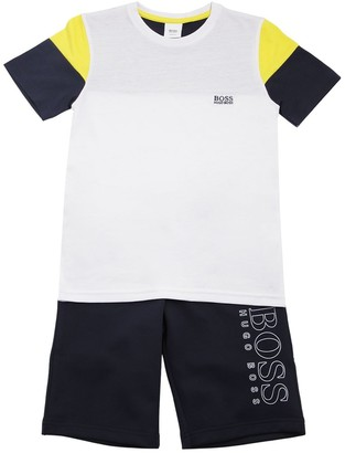 HUGO BOSS COTTON T-SHIRT & TRIACETATE SHORTS