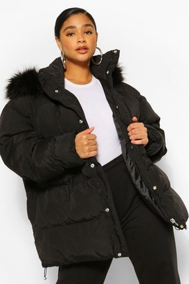 boohoo Plus Padded Puffer Coat With Faux Fur Hood