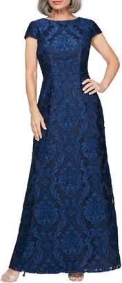 Alex Evenings Brocade A-Line Gown