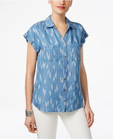 Style&Co. Style & Co Petite Ikat-Print Denim Shirt, Only at Macy's