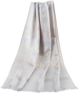 Signare Floral Pattern Pashmina Style Scarf Shawl Wrap for Women (Silver)