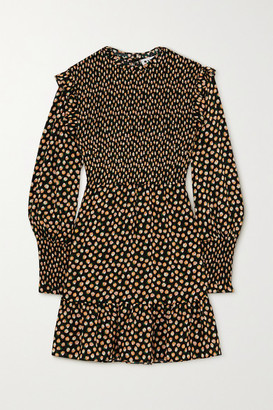 Rixo Talisa Tiered Shirred Floral-print Crepe Mini Dress - Mustard