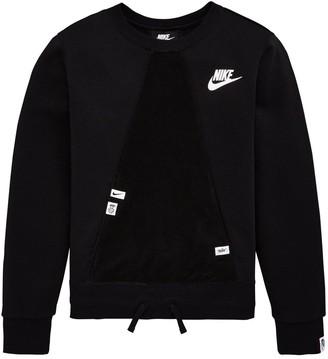 Nike Sportswear Older Girls Heritage Crew Neck Sweat - Black