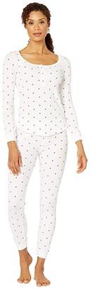 Plush Thermal Heart Pajama + Scrunchie Set (White/Red) Women's Pajama Sets