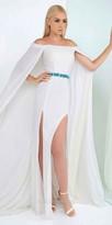 Mac Duggal Double Slit Off the Shoulder Beaded Cape Dress