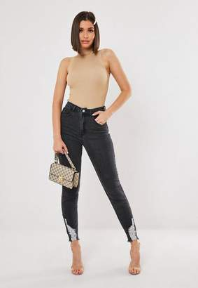 Missguided Co Ord High Waisted Distressed Hem Skinny Jeans