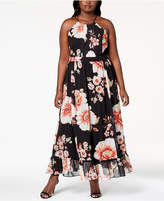 NY Collection Plus Size Printed Pleated Maxi Dress