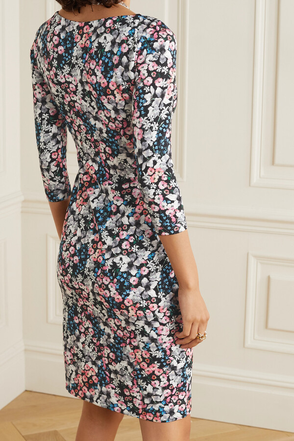 Thumbnail for your product : Erdem Reese Floral-print Stretch-ponte Dress - Black