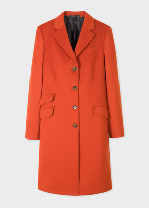 Paul Smith Women's Orange Four-Button Wool-Cashmere Epsom Coat