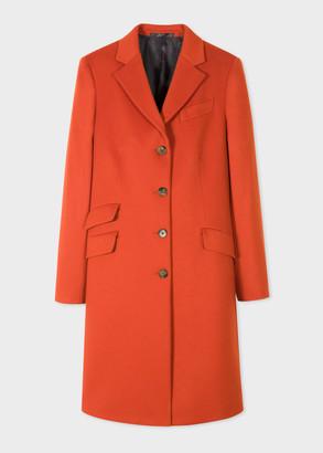 Women's Orange Four-Button Wool-Cashmere Epsom Coat