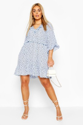 boohoo Plus Polka Dot Kimono Sleeve Smock Dress