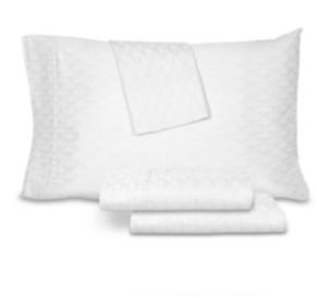 Aq Textiles Woven Jacquard 4 pc King Sheet Set, 500 Thread Count Bedding