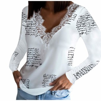 Amandaz Women V Neck Long Sleeve Tops Casual Lace Design Blouse Tunic Swing Loose Tee Shirts Fashion Blouse T-Shirt