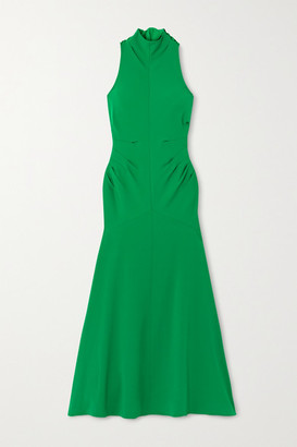 Christopher John Rogers Bow-detailed Halterneck Cady Gown - Emerald