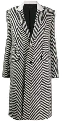 Haider Ackermann Herringbone Long Fitted Wool Coat