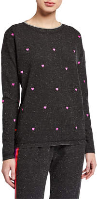 LISA TODD Heart Attack Speckled French Terry Pullover
