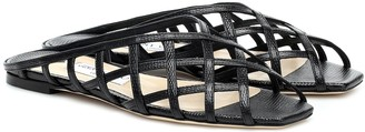 Jimmy Choo Sai Flat lizard-effect leather sandals